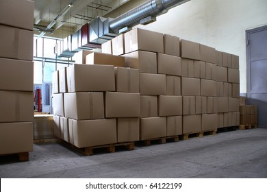 Boxes of goods in warehouse