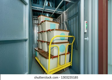 boxes on the loader in the freight elevator