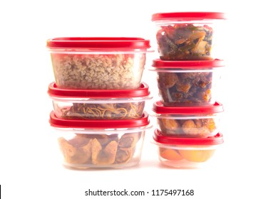 Boxes with Red Lids filled with Leftover Food