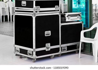 Boxes with sound equipment