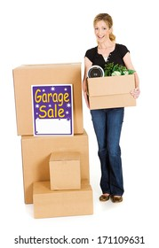 Boxes: Woman Ready For Garage Sale