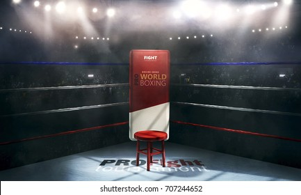 Boxing arena with blurred spectator and stadium light. 3d rendering