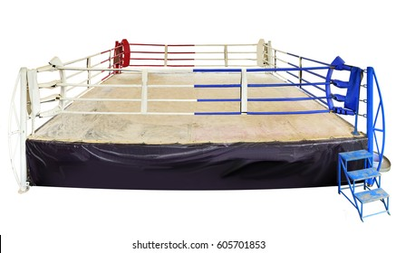 Boxing arena isolated on white background . This has clipping path.