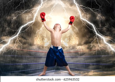 The Boxing champion. Children's sports.