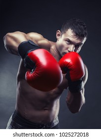 Boxing concept. Boxer with an aggressive look in red boxing gloves before a fight against a black background