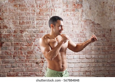 Boxing concept. Closeup boxer fist. Focus on the hand
