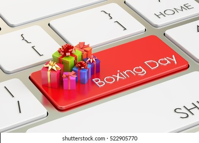 Boxing Day concept, red key on keyboard. 3D rendering