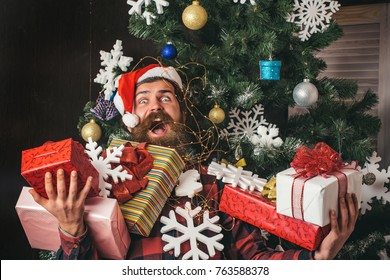boxing day and cyber Monday, New year. Santa claus man with present box at christmas tree. Christmas man with beard on happy face hold gift. shopping and party celebration. Winter holiday and xmas.