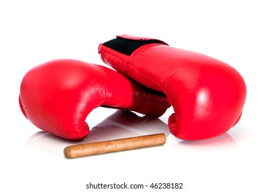 boxing glove and cigar close up on white background