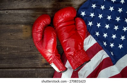 Boxing gloves and American flag with room for your type.