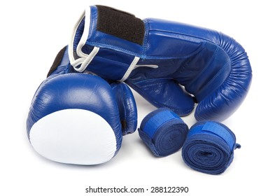 Boxing gloves and bandages isolated on a white background.