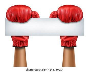 Boxing gloves blank sign as a fight and competition communication message with isolated red boxer equipment holding a horizontal white card as a business symbol of competitive sales.