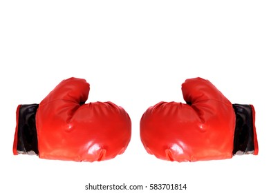 Boxing gloves competition business concept battle cooperation on white background.