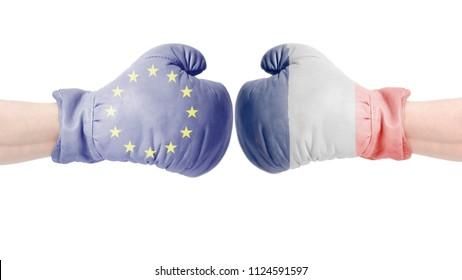 Boxing gloves with European Union and Italian flag. Italia vs European Union concept.isolated on a white background