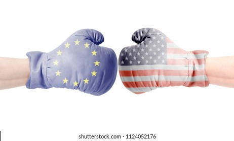 Boxing gloves with European Union and USA flags. USA vs European Union concept.isolated on a white background.