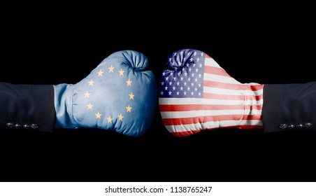 Boxing gloves with European Union and USA flag. European Union versus USA concept.