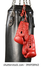 Boxing gloves and punching bag isolated