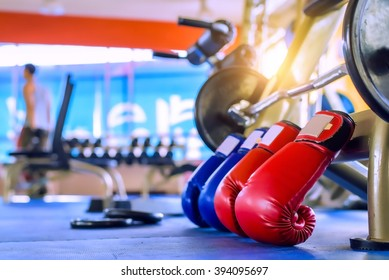 Boxing Gloves Red And Blue Gym Fitness - exercise The boxing Concept