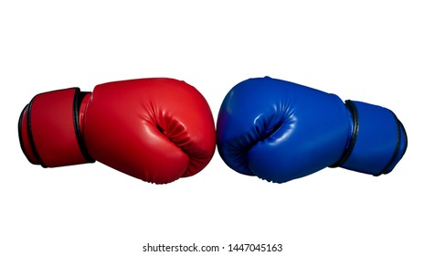 Boxing gloves Red and Blue hitting together isolated on white background,sport and competition concept