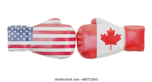Boxing gloves with USA and Canada flags. Governments conflict concept, 3D rendering