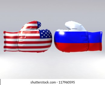 Boxing gloves with Usa and Russia flag, 3d illustration