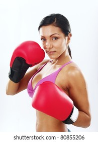 Boxing gloves woman portrait on white background.