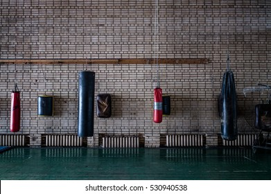 boxing gym with  boxsack wall