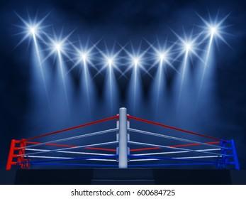 Boxing ring corner and spotlights , Fight night event , 3d illustration