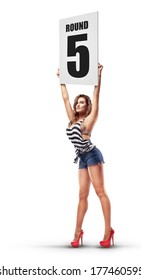 Boxing ring girl holding a board with round number isolated on white background. High resolution