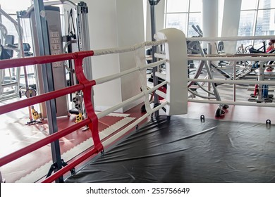 Boxing ring in GYM background