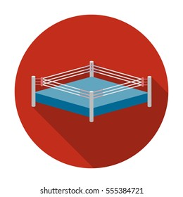 Boxing ring icon in flat style isolated on white background. Boxing symbol stock rastr illustration.