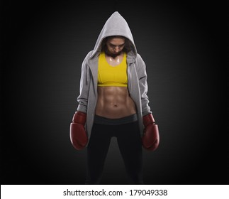 Boxing woman before fight