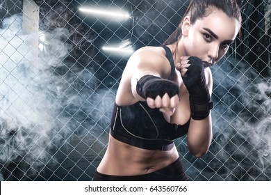 Boxing woman At Training. Sport Concept.
