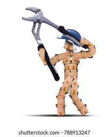 Boxman digital character workman with hard hat and holding a large a pair of tool pliers open. Work and tool isolated concept artwork on a white background with copy space
