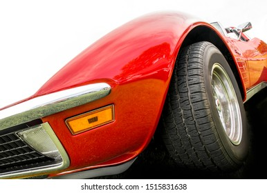 BOXTEL / NETHERLANDS-AUGUST 18 2019: Low angle view of american sports cars in bright colors on display at the anual car show in Boxtel