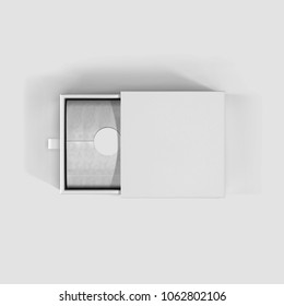 Box.White color box top view with white background.Open box.Packing for mockup.Gift box