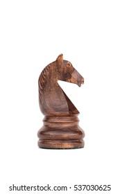 boxwood black knight  profile chess piece isolated