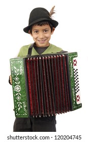 boy with acordeon isolated in white