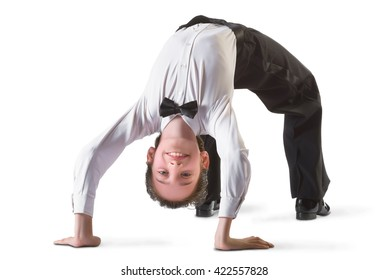 boy in the active ballroom or classical dance on white background