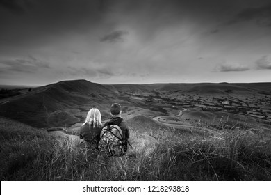 A boy with ADHD, Autism, Aspergers Syndrome, enjoys a day out hiking with his sister at the Great Ridge and Mam Tor, in the Derbyshire Peak District National Park, Mental Health, illness, Energetic