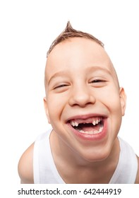 Boy with adorable toothless smile on isolated white using wide angle lens