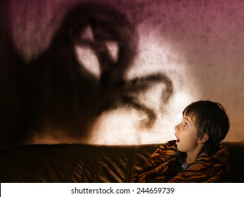 The boy is afraid of ghosts at night