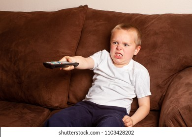 boy angry while watching tv
