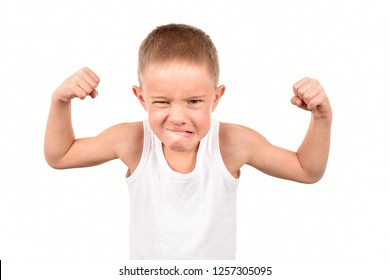 Boy athlete on a white background. Strong guy.