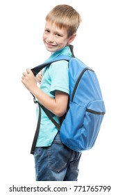 boy with backpack ready for school, portrait isolated on white background