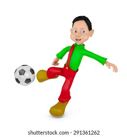 Boy and Ball on a white background