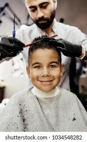 Boy in barbershop