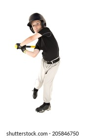 boy baseball player batting with eyes open
