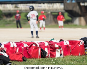 Boy baseball team and Sports bag