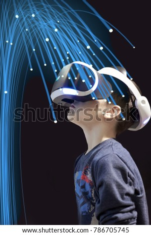 Boy Beautiful Virtual Reality Glasses 3 D Stock Photo (Edit Now